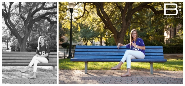 SFA graduation photos on campus bench