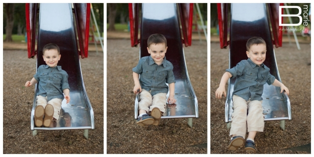 Series of photos of a child on a slide
