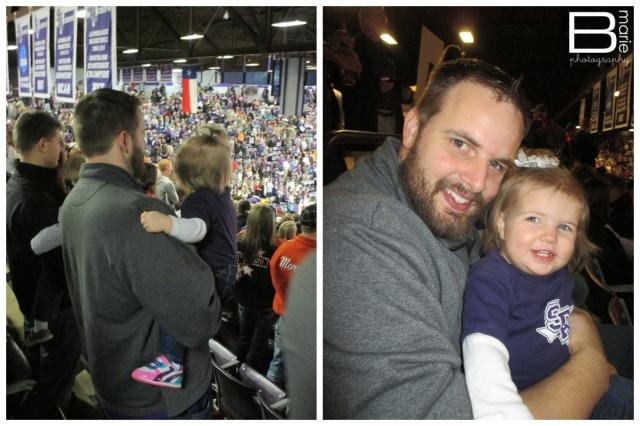Nacogdoches photographer - family attending SFA basketball game.