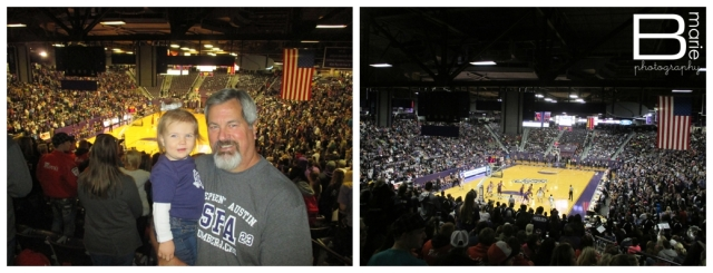 Nacogdoches photographer - family attending SFA basketball game.