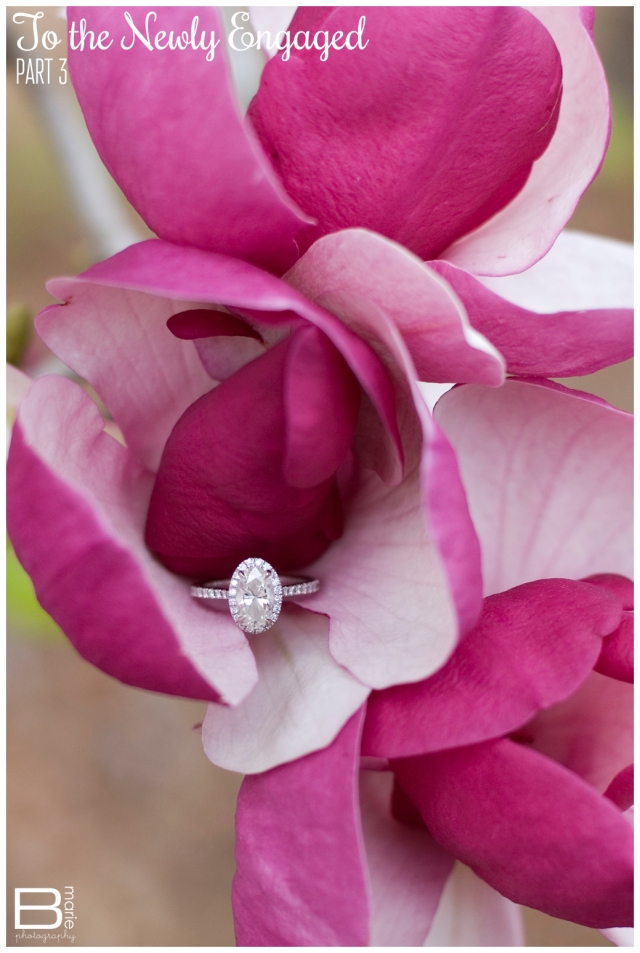 Nacogdoches photographer: To the Newly Engaged Series: detail ring shot of an engagement ring on bright magenta flowers