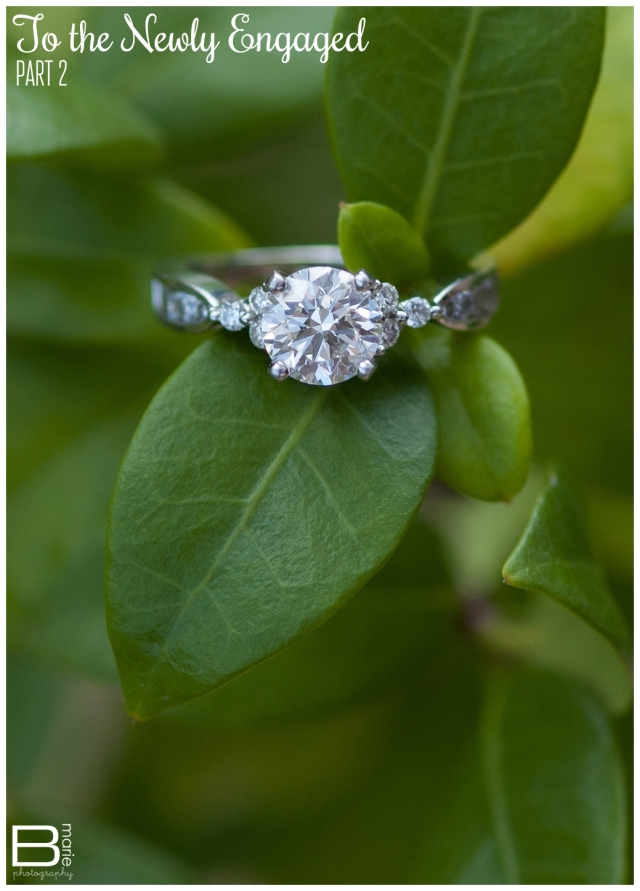 Nacogdoches photographer: To the Newly Engaged Series: detail ring shot of an engagement ring on deep green leaves