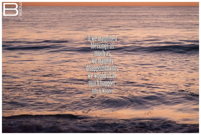 Nacogdoches photographer - image of sunset reflecting on the ocean with inspirational quote by John R. Wooden
