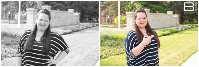 Nacogdoches photographer Spring senior portrait session on SFA campus and downtown Nacogdoches