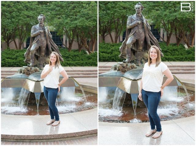 Nacogdoches photographer Spring senior portrait session on SFA campus