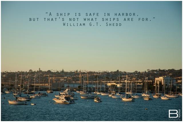 Nacogdoches photographer image of boats in San Diego Harbor at sunset with a quote by William G.T. Shedd