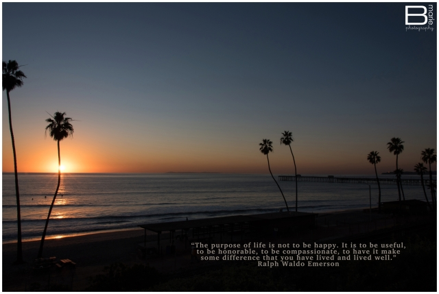 Nacogdoches photographer image of San Clemente beach at sunset with a quote by Ralph Waldo Emerson