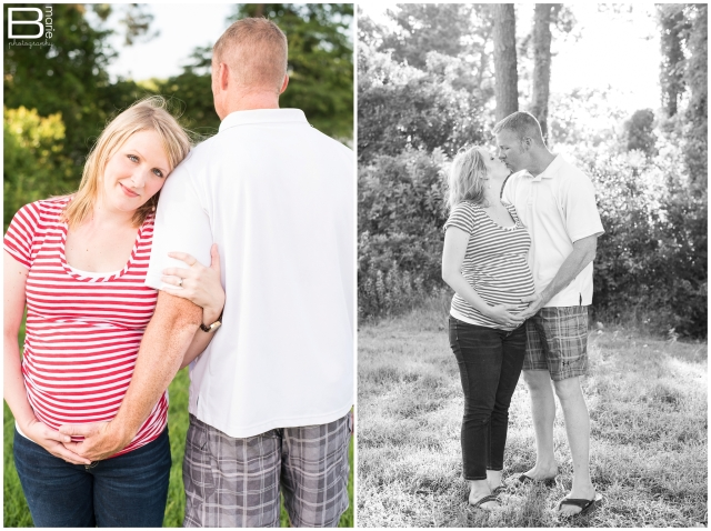 Nacogdoches photographer maternity portraits of family with toddler boy in lush green field in Kingwood, TX