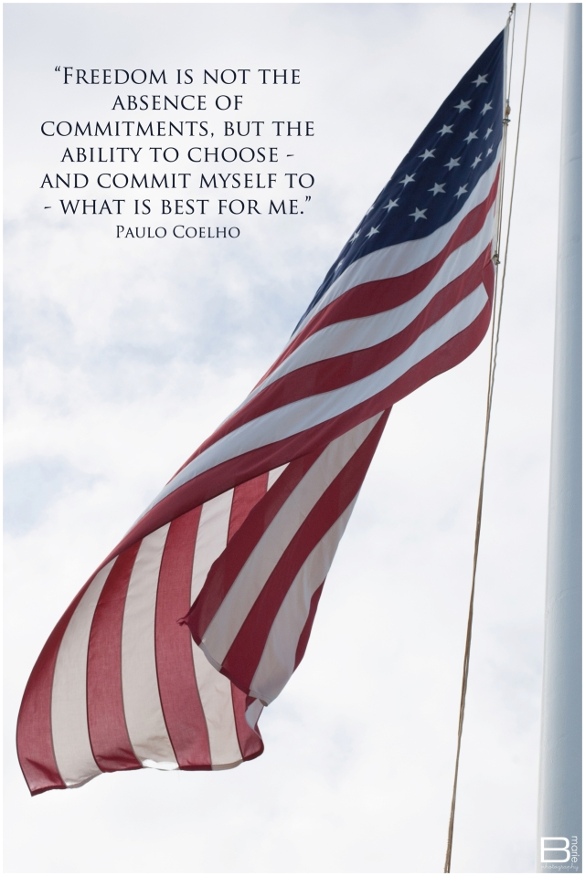 Nacogdoches photographer image of American Flag with quote about freedom by Paulo Coelho
