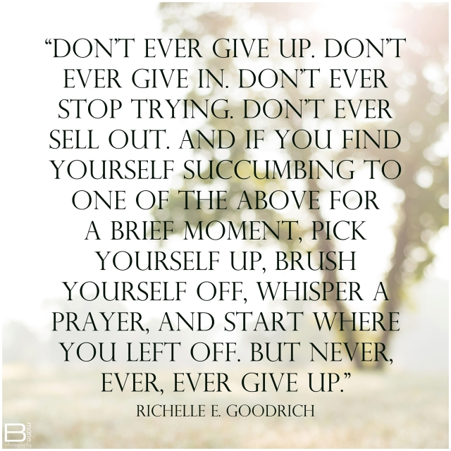 Nacogdoches photographer image with inspirational quote about not giving up by Richelle E. Goodrich