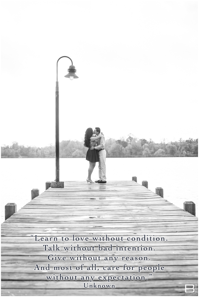Nacogdoches photographer black and white engagement photo on wet boat docks with anonymous quote about learning to love