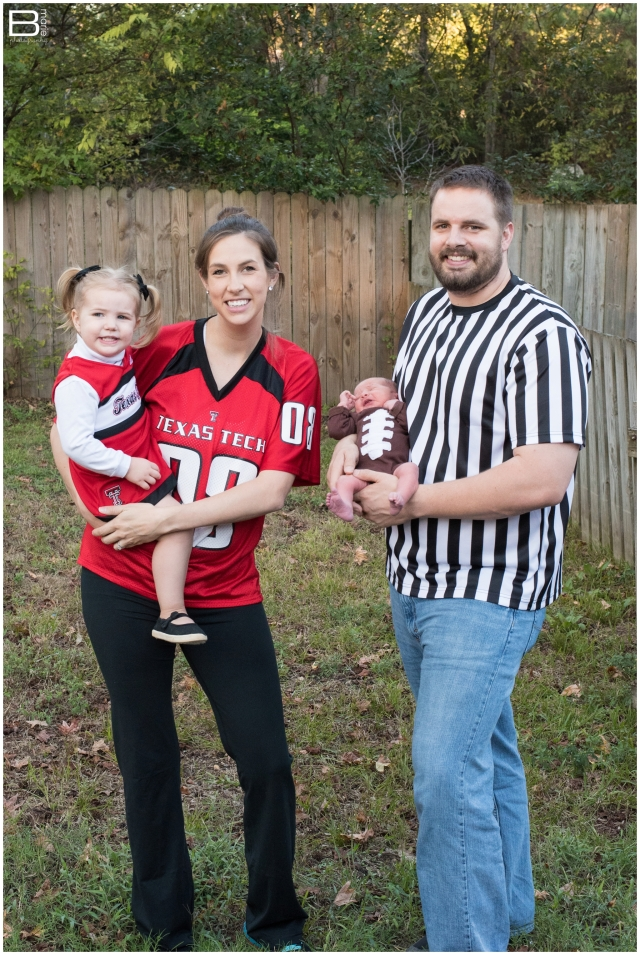 Nacogdoches photographer's family dressed up in football themed costumes for Halloween 2015