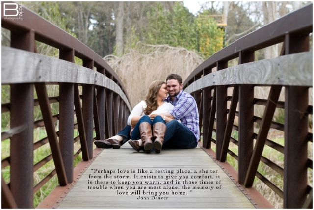 Nacogdoches photographer image of engaged couple with words about love by John Denver