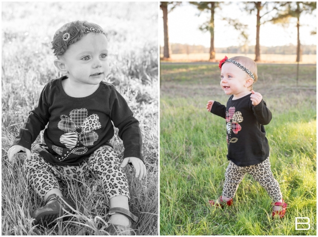 Nacogdoches photographer fall family and 1 year portrait session in a sunlit field