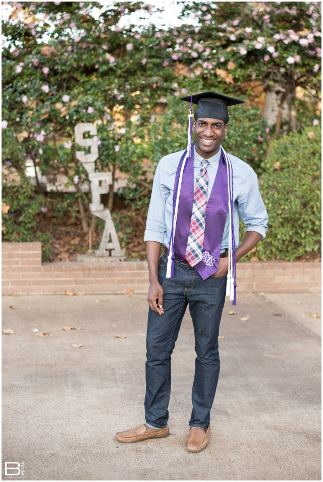 Nacogdoches photographer senior portrait session with SFA graduate on campus
