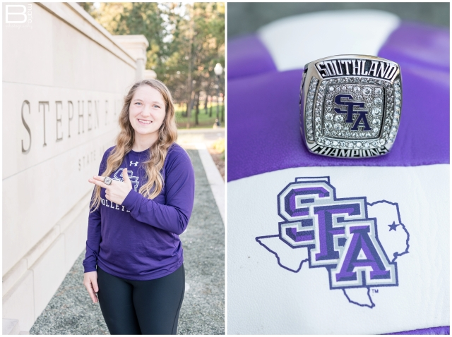 Nacogdoches photographer senior portraits of SFA volleyball player on SFA campus