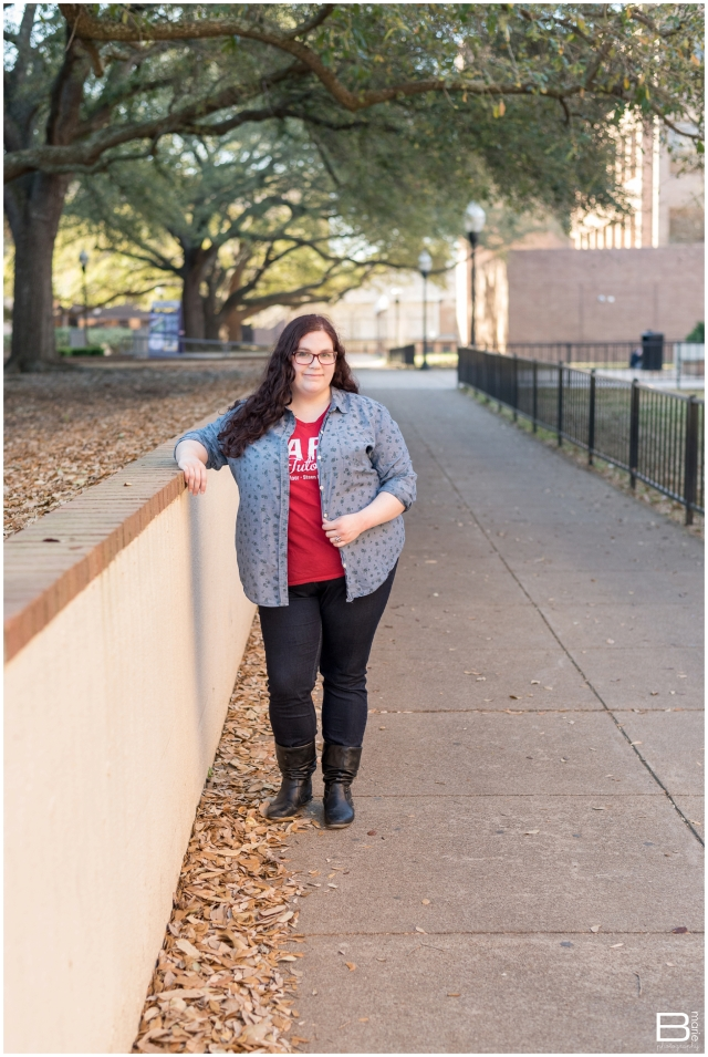 Nacogdoches photographer senior portrait session with SFA grad on campus