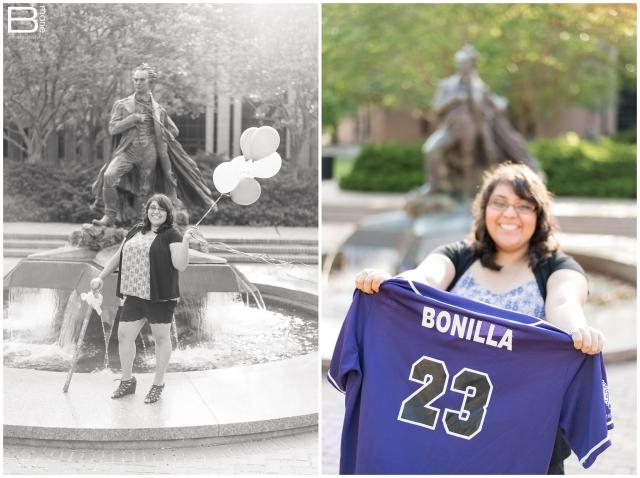 Nacogdoches photographer senior portraits on SFA campus with purple & white balloons