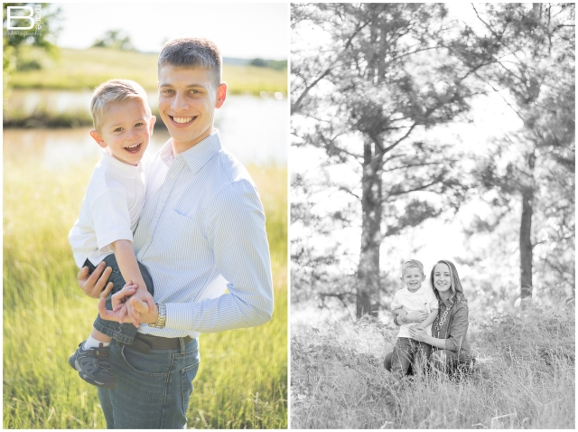 Nacogdoches photographer images of family of three in green field area with wild blackberries