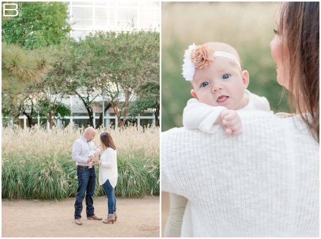 Kingwood photographer family portrait session with 2 month old baby girl at Discovery Green
