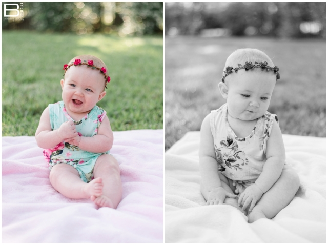 Kingwood child photographer images of 6 month old baby girl in spring/Easter attire